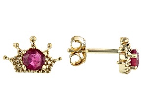 Red Mahaleo® Ruby 10k Yellow Gold Crown, Child's Stud Earrings  .26ctw