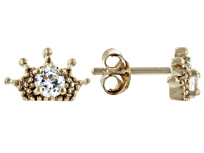 White Zircon 10k Yellow Gold Crown, Child's Stud  Earrings .36ctw