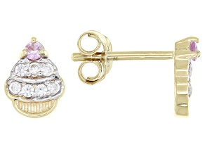 Pink Sapphire 10k Yellow Gold Cupcake Child's Stud Earrings .13ctw