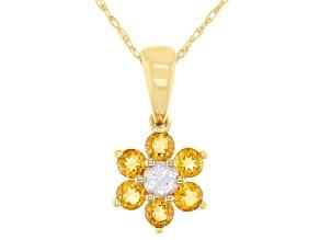 Golden Citrine 10k Yellow Gold Children's Flower Pendant With Chain .59ctw