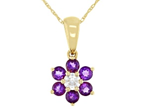 Purple Amethyst 10k Yellow Gold Children's Flower Pendant W/Chain .59ctw