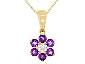 Purple Amethyst 10k Yellow Gold Children's Flower Pendant W/Chain .59ctw