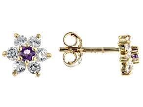 Purple African Amethyst 10k Yellow Gold Child's Flower Stud Earrings .35ctw