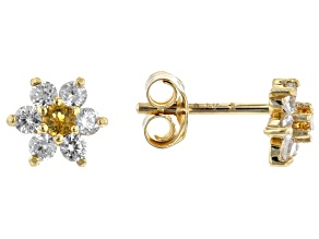 Golden Citrine 10k Yellow Gold Child's Flower Stud Earrings .35ctw