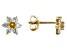 Golden Citrine 10k Yellow Gold Child's Flower Stud Earrings .35ctw