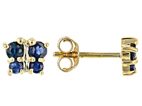 Blue Sapphire 10k Yellow Gold Child's Butterfly Stud Earrings .24ctw