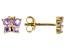 Purple African Amethyst 10k Yellow Gold Children's Butterfly Stud Earrings .24ctw
