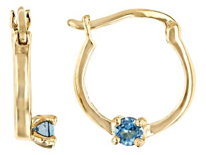 London Blue Topaz 10k Yellow Gold Child's Hoop Earrings .07ctw
