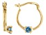 London Blue Topaz 10k Yellow Gold Children's Hoop Earrings .07ctw