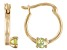 Green Peridot 10k Yellow Gold Children's Hoop Earrings .07ctw