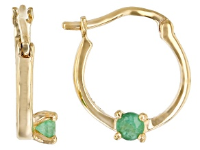 Green Sakota Emerald 10k Yellow Gold Child's Hoop Earrings .10ctw