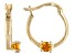 Golden Citrine 10k Yellow Gold Children's Hoop Earrings .07ctw