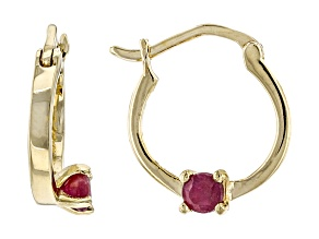 Red Ruby 10k Yellow Gold Child's Hoop Earrings