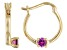 Grape Color Garnet 10k Yellow Gold Child's Hoop Earrings .09ctw