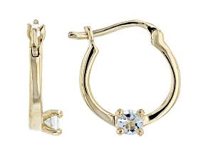 Blue Aquamarine 10k Yellow Gold Child's Hoop Earrings .07ctw