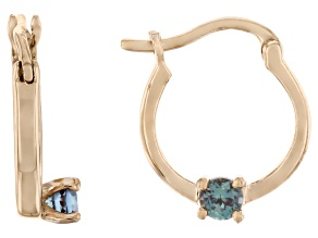 Teal Lab Created Alexandrite 10k Yellow Gold Child's Hoop Earrings .07ctw