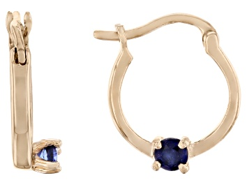 Picture of Blue Sapphire 10k Yellow Gold Child's Hoop Earrings .07ctw