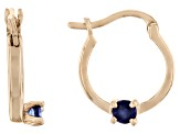 Blue Sapphire 10k Yellow Gold Child's Hoop Earrings .07ctw