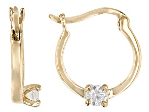 White Zircon 10k Yellow Gold Child's Hoop Earrings .11ctw