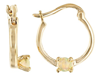 Picture of Multi Color Ethiopian Opal 10k Yellow Gold Child's Hoop Earrings .09ctw