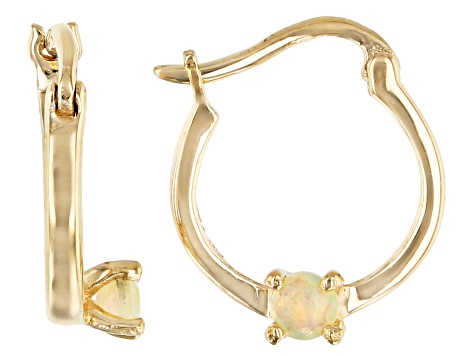 Multi Color Ethiopian Opal 10k Yellow Gold Child's Hoop Earrings .09ctw