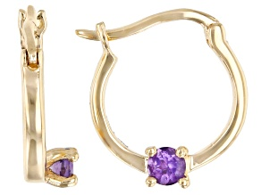 Purple Amethyst 10k Yellow Gold Child's Hoop Earrings .07ctw