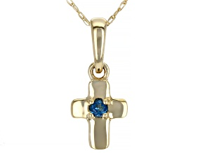 London Blue Topaz 10k Yellow Gold Child's Cross Pendant With 12