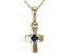 """London Blue Topaz 10k Yellow Gold Child's Cross Pendant With 12"""" Chain .03ct"""