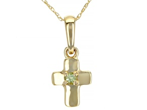 Green Peridot 10k Yellow Gold Child's Cross Pendant With Chain.