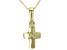 Green Peridot 10k Yellow Gold Child's Cross Pendant With Chain.