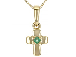 Green Sakota Emerald 10k Yellow Gold Child's Cross Pendant With Chain .03ct