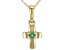 Green Sakota Emerald 10k Yellow Gold Child's Cross Pendant With Chain .03ct
