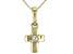 White Zircon 10k Yellow Gold Child's Cross Pendant With Chain .06ct