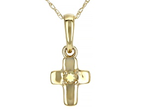 Multi Color Ethiopian Opal 10k Yellow Gold Child's Cross Pendant With Chain .02ct