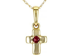 Red Mahaleo® Ruby 10k Yellow Gold Child's Cross Pendant With Chain .04ct