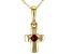 Red Mahaleo® Ruby 10k Yellow Gold Children's Cross Pendant With Chain .04ct