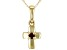 Red Garnet 10k Yellow Gold Child's Cross Pendant With Chain .04ct