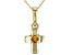 Golden Citrine 10k Yellow Gold Child's Cross Pendant With Chain .03ct