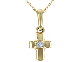 Blue Aquamarine 10k Yellow Gold Child's Cross Pendant With Chain .03ct