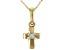 Blue Aquamarine 10k Yellow Gold Child's Cross Pendant With Chain .03ct
