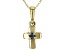 Teal Lab Created Alexandrite 10k Yellow Gold Child's Cross Pendant With Chain .03ct