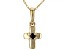 Blue Sapphire 10k Yellow Gold Child's Cross Pendant With Chain .03ct