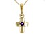 Purple African Amethyst 10k Yellow Gold Child's Cross Pendant With Chain .03ct