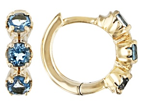 London Blue Topaz Child's 10k Yellow Gold Hoop Earrings .41ctw