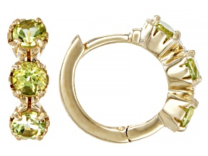 Green Peridot Children's 10k Yellow Gold Hoop Earrings .41ctw