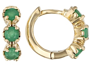 Green Sakota Emerald Child's 10k Yellow Gold Hoop Earrings .41ctw