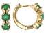 Green Sakota Emerald Child's 10k Yellow Gold Hoop Earrings .41ctw