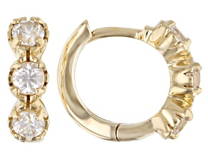 White Zircon Child's 10k Yellow Gold Hoop Earrings .61ctw