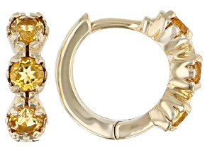 Golden Citrine Child's 10k Yellow Gold Hoop Earrings .41ctw