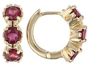 Red Mahaleo® Ruby Children's 10k Yellow Gold Hoop Earrings 1.11ctw